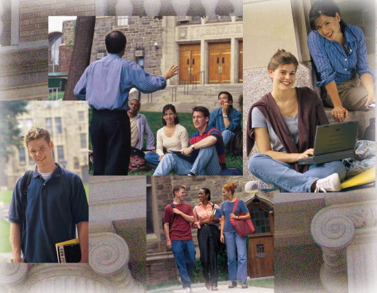 Collection of photographs of college students in front of class buildings